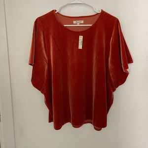 Women's madewell butterfly sleeves velvet top